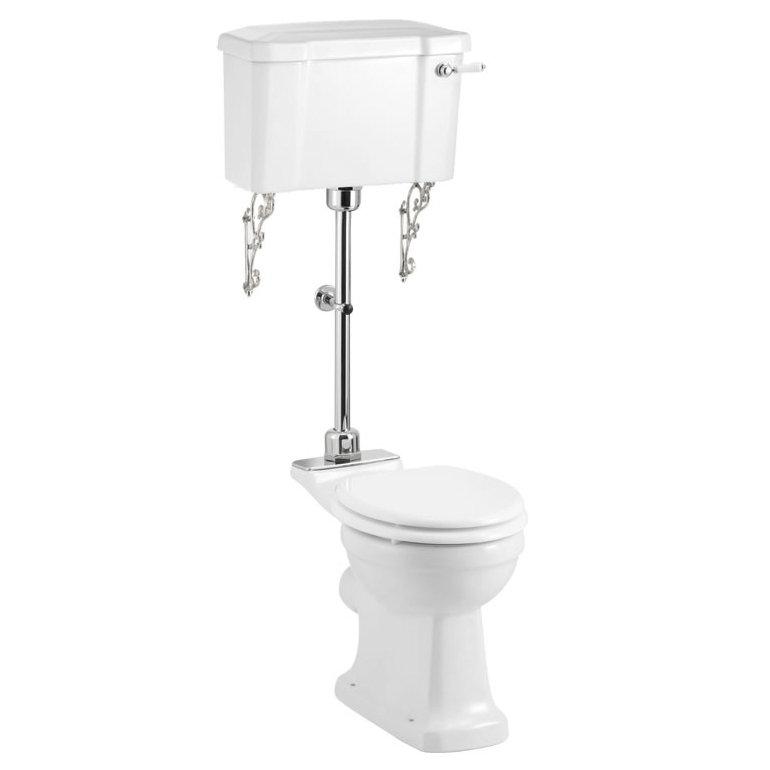 Burlington Medium Level Toilet - White Ceramic Large Image