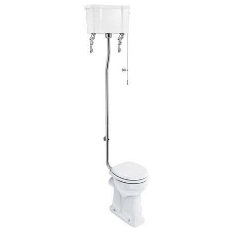 Burlington Regal High Level Raised Height Toilet with White Ceramic Cistern