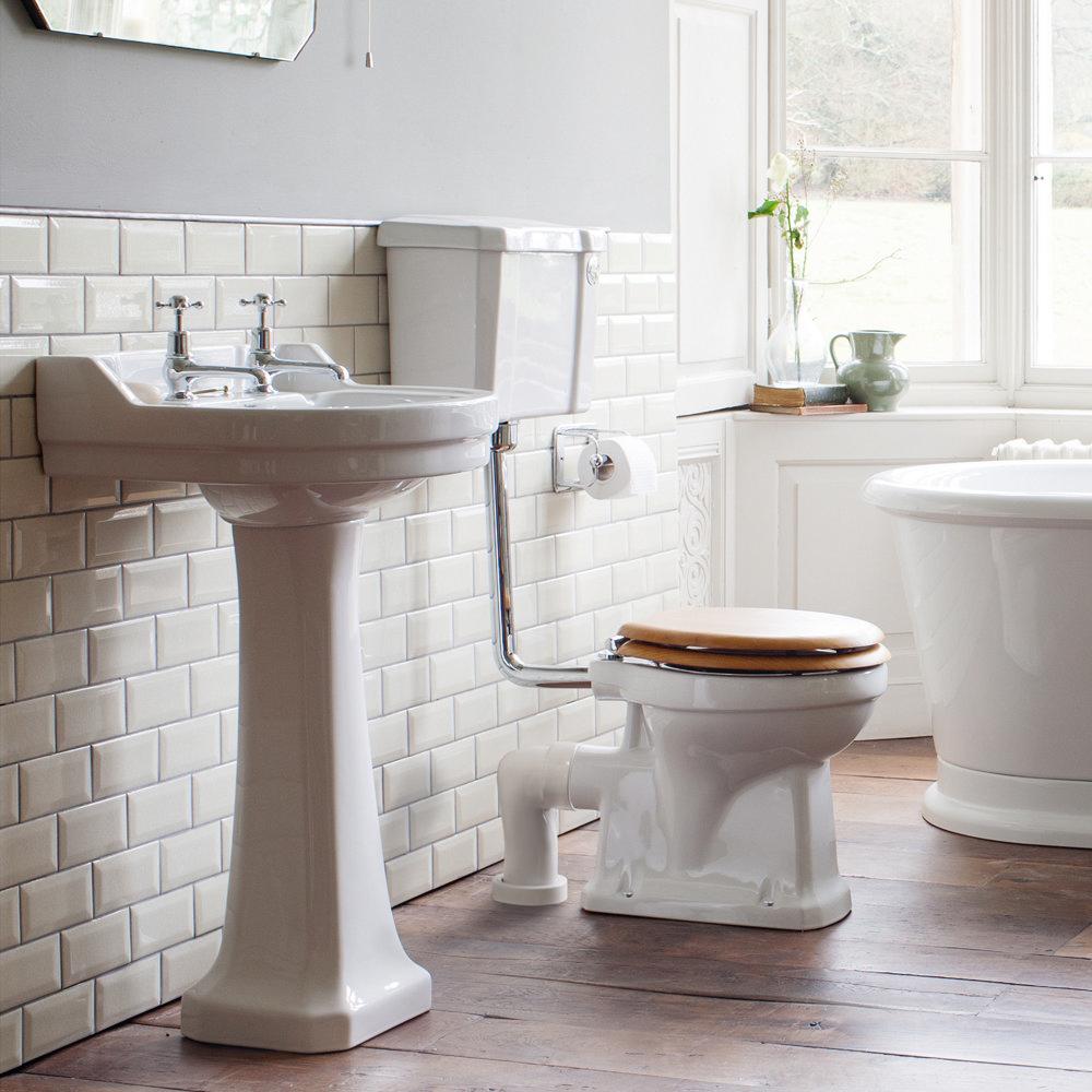 Burlington Regal Low Level WC - 51cm White Ceramic Cistern - Ceramic Lever Flush profile large image view 2
