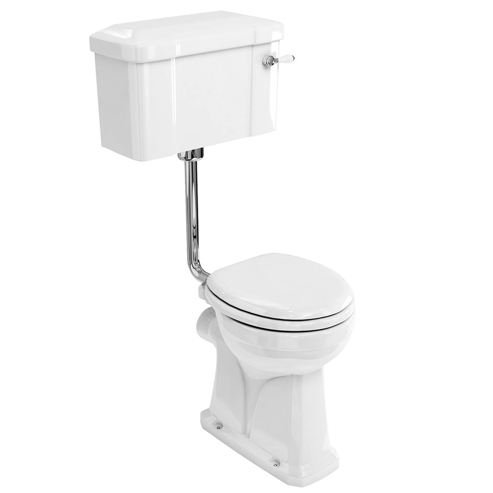 Burlington Regal Low Level WC - 51cm White Ceramic Cistern - Ceramic Lever Flush Large Image