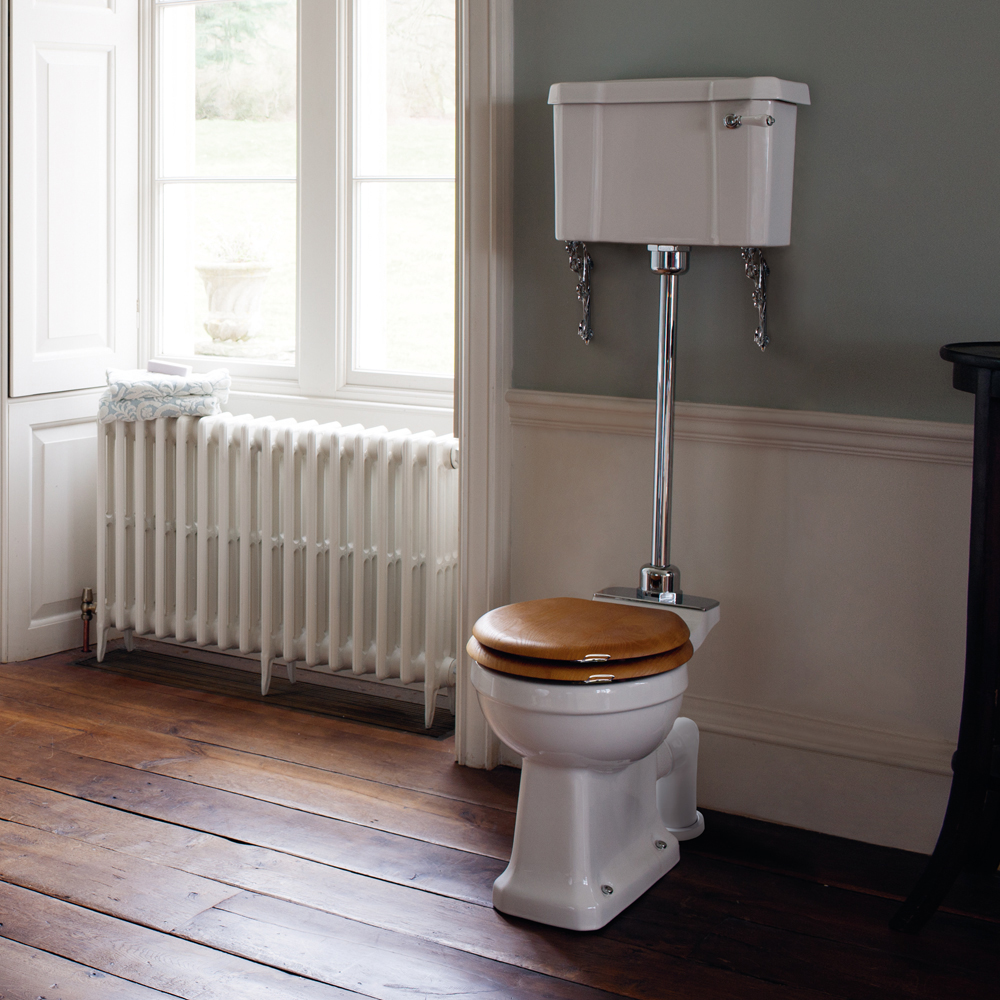 Burlington Regal Medium Level Toilet - White Ceramic Profile Large Image