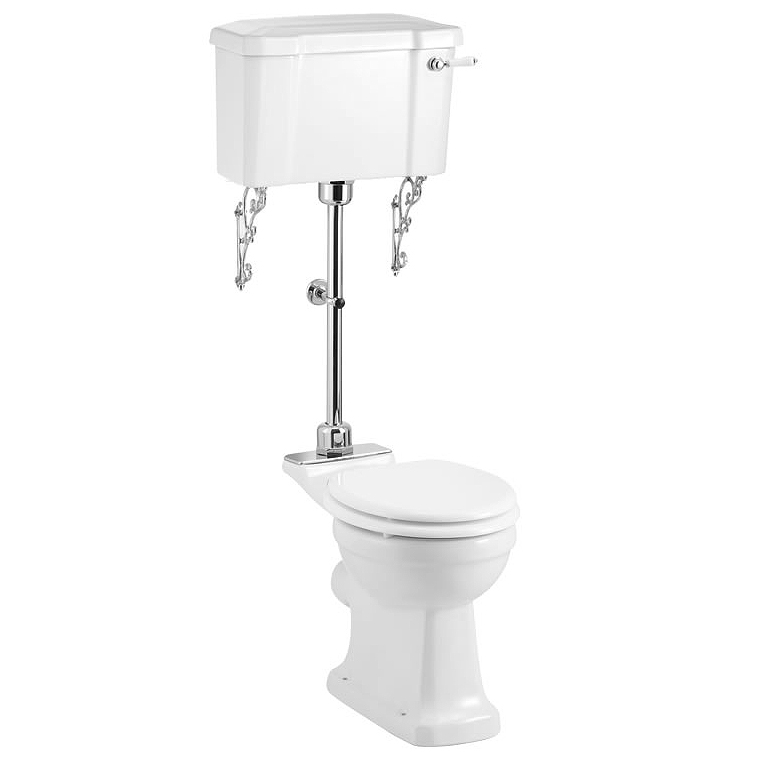 Burlington Regal Medium Level Toilet - White Ceramic Large Image