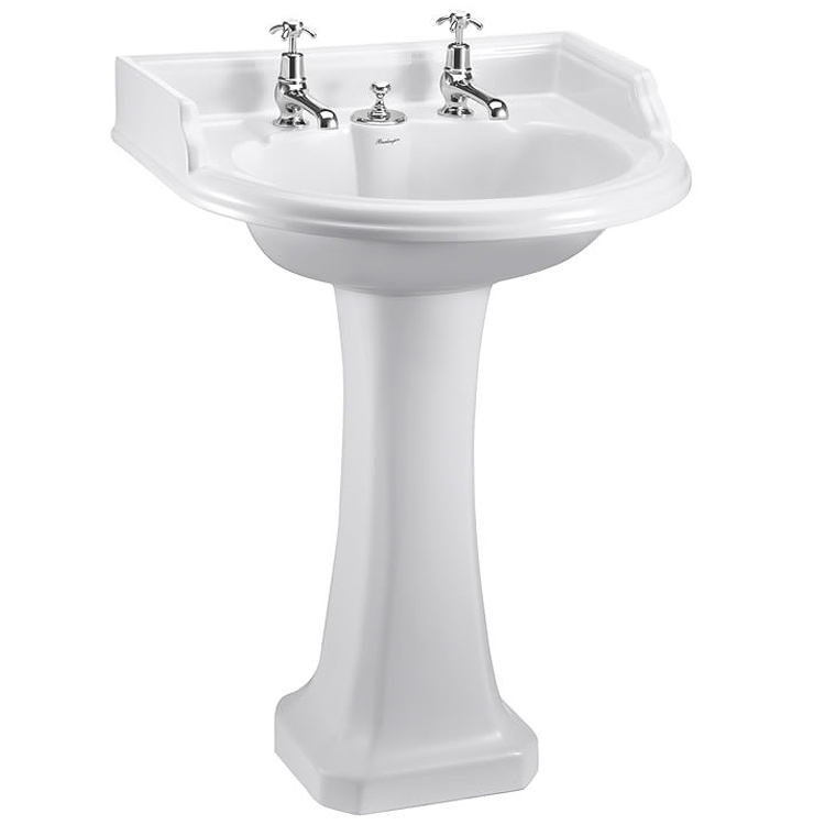 Burlington Classic Round Basin with Invisible Overflow/Waste & Pedestal Large Image