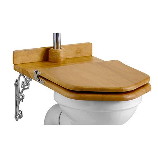 Burlington Throne Seat for Low Level Toilet - Oak Seat - S19 Large Image