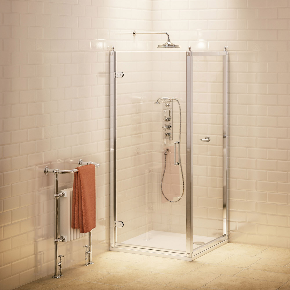 Burlington Traditional Hinged Shower Door & Side Panel profile large image view 1