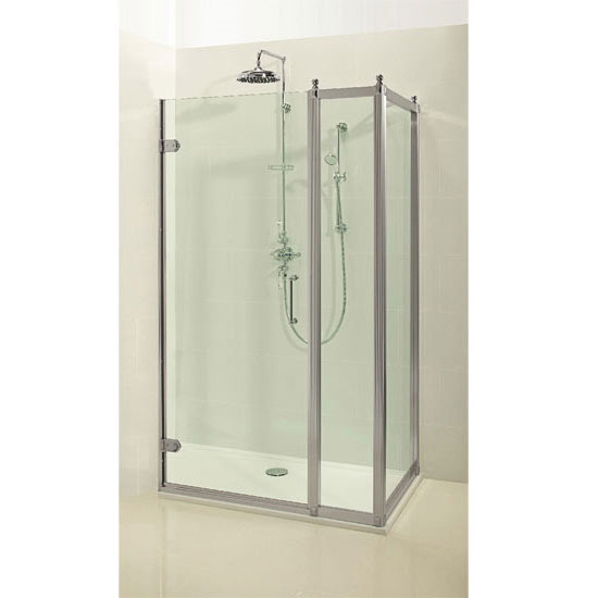 Burlington Traditional Hinged Shower Door with Inline Panel & Side Panel Profile Large Image