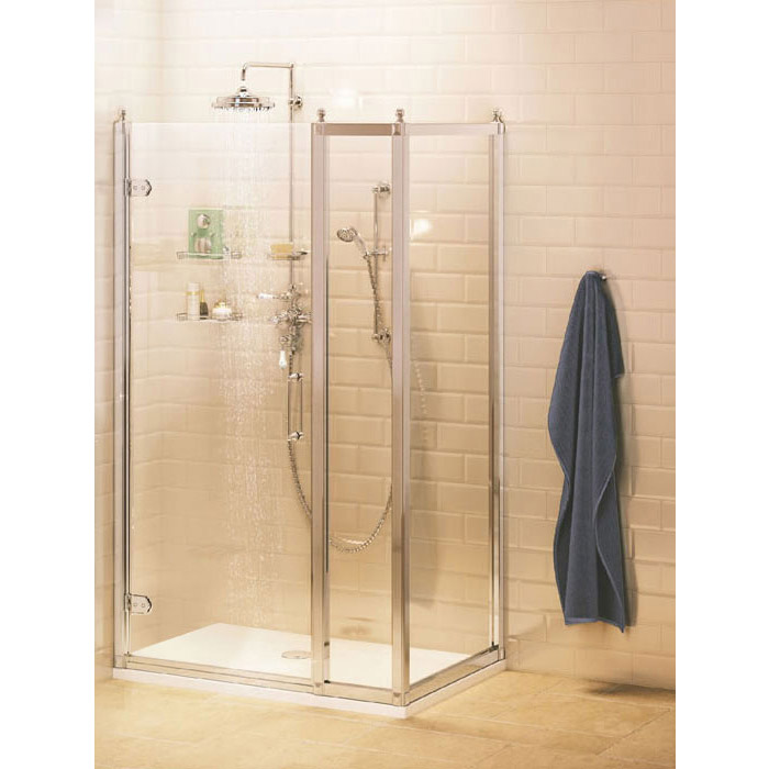 Burlington Traditional Hinged Shower Door with Inline Panel & Side Panel profile large image view 1