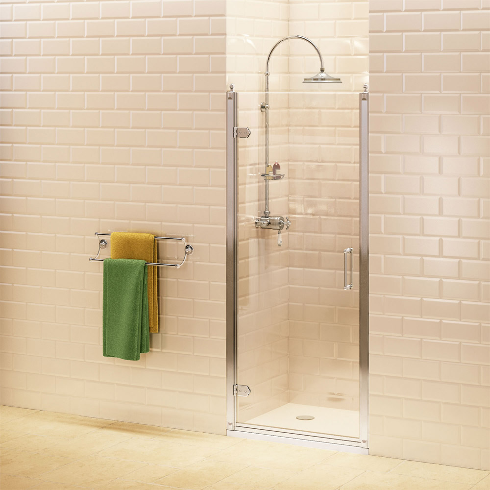Burlington Traditional Recessed Hinged Shower Door - 3 Size Options Large Image