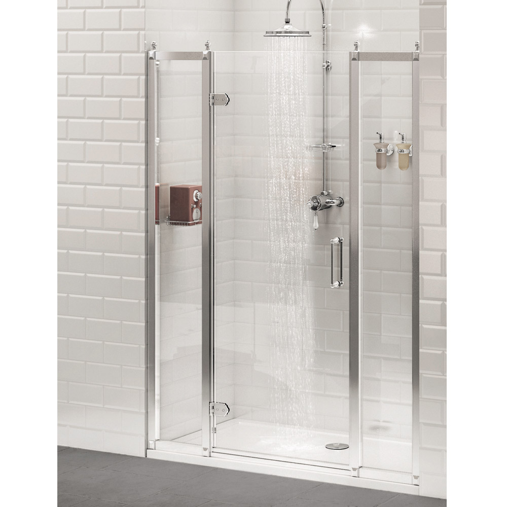 Burlington Traditional Recessed Hinged Shower Door with 2 x Inline Panel profile large image view 2