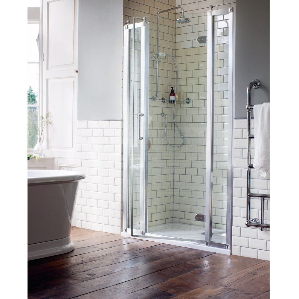 Burlington Traditional Recessed Hinged Shower Door with 2 x Inline Panel Large Image