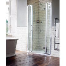 Burlington Traditional Recessed Hinged Shower Door with 2 x Inline Panel Medium Image