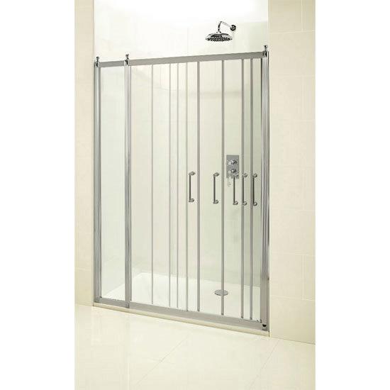 Burlington Traditional Soft Close Recessed Sliding Shower Door with Inline Panel Profile Large Image