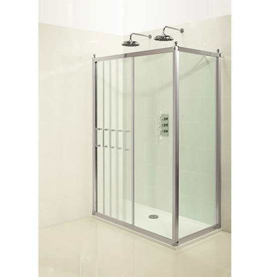 Burlington Traditional Soft Close Sliding Shower Door with Side Panel Profile Large Image
