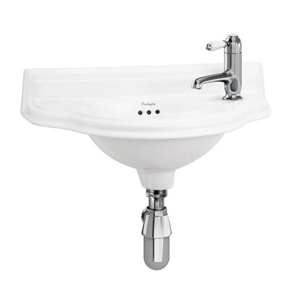Burlington Traditional 1TH Wall Mounted Curved Cloakroom Basin - P13R profile large image view 1