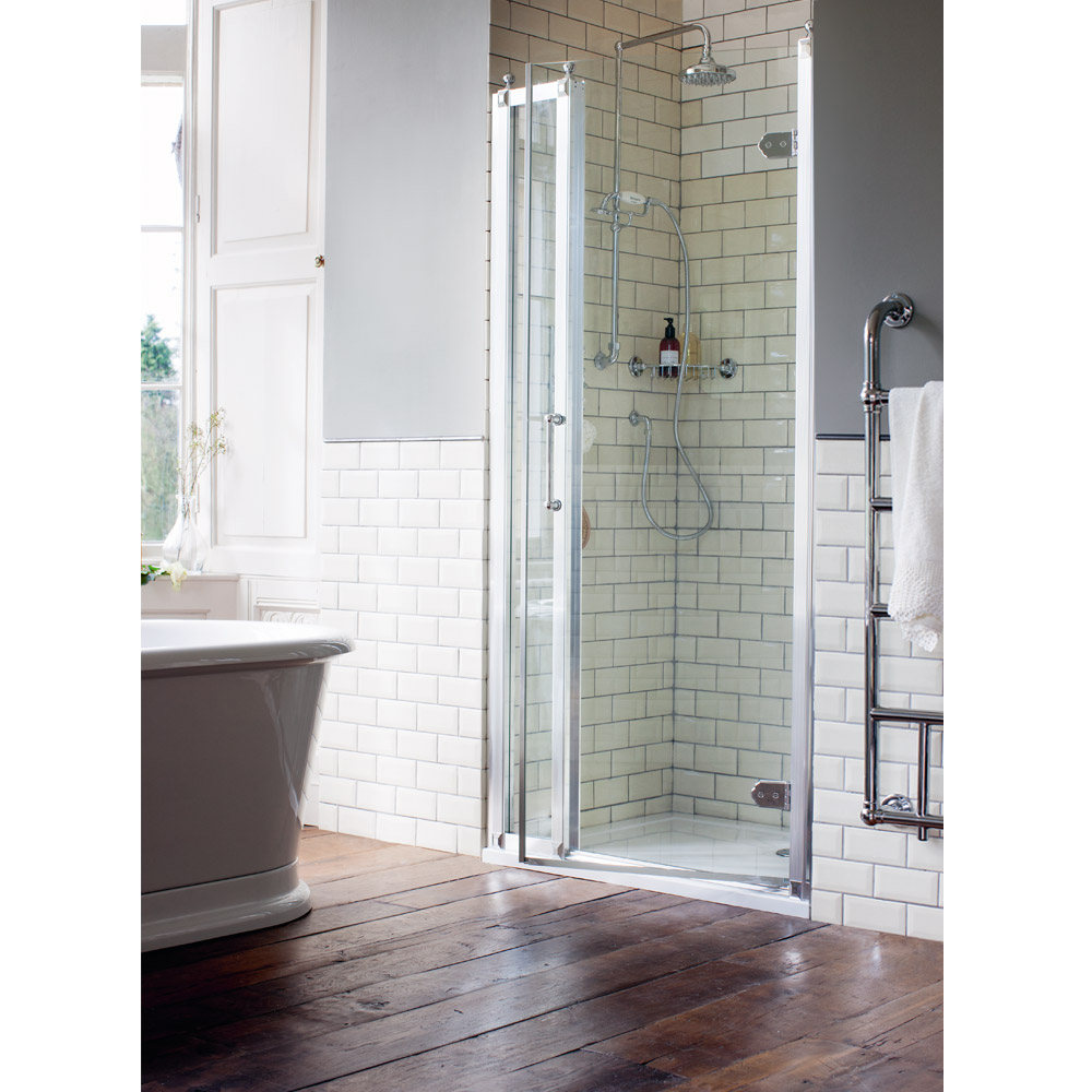 Burlington Traditional Recessed Hinged Shower Door with 1 x Inline Panel Large Image