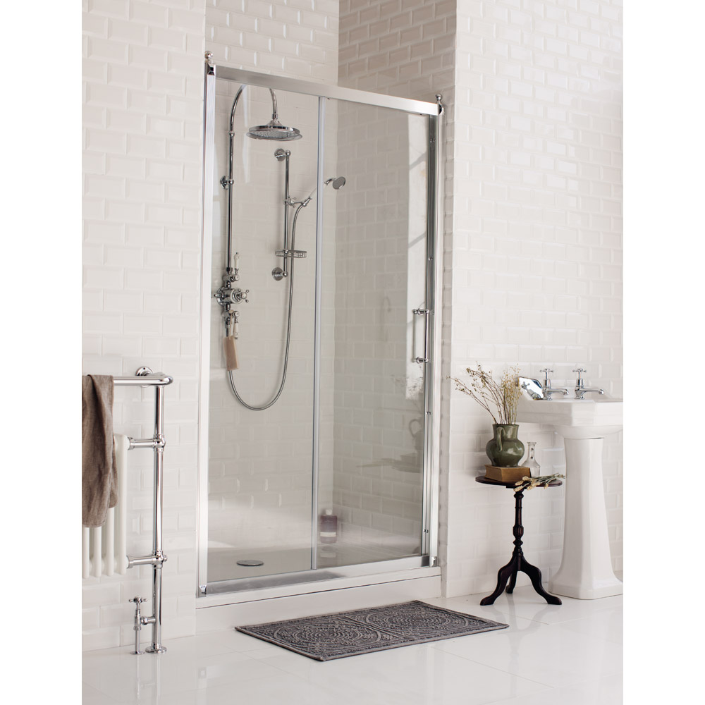 Burlington Traditional Soft Close Recessed Sliding Shower Door profile large image view 1