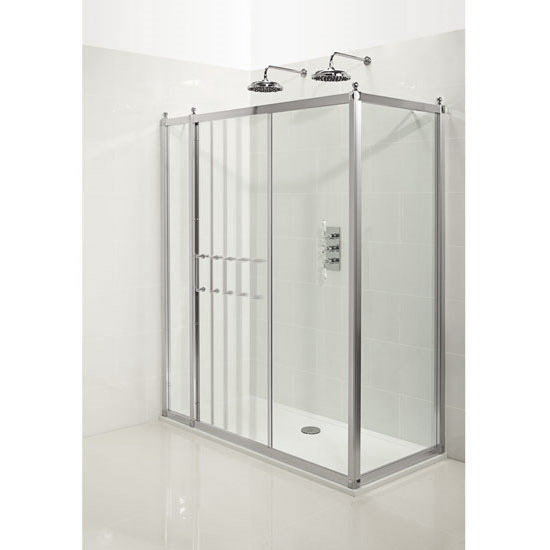 Burlington Traditional Soft Close Sliding Shower Door with Inline Panel & Side Panel profile large image view 2