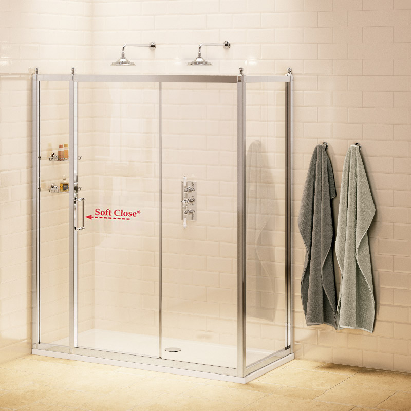 Burlington Traditional Soft Close Sliding Shower Door with Inline Panel & Side Panel profile large image view 1