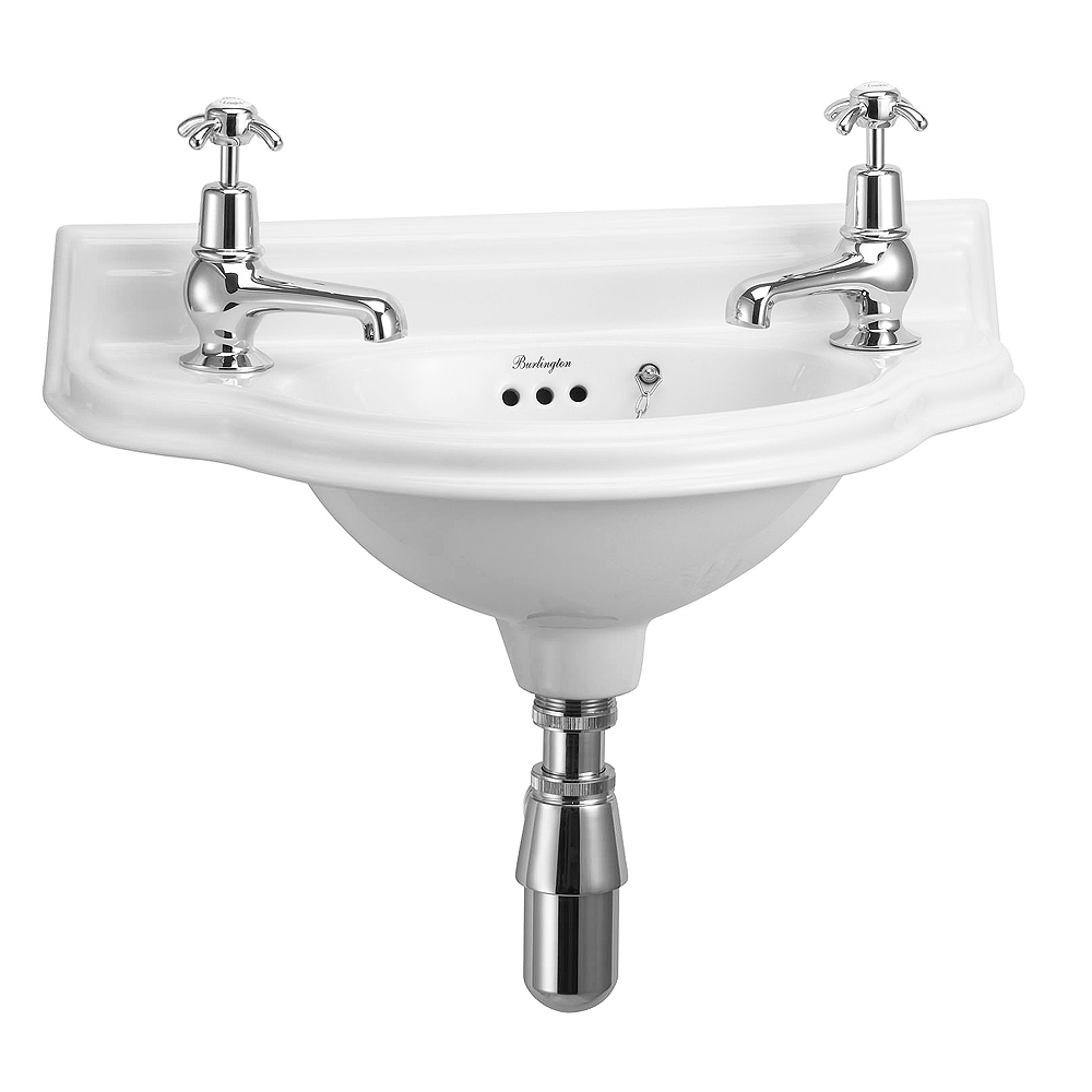 Burlington Traditional Wall Mounted Curved Cloakroom Basin - P13 Large Image