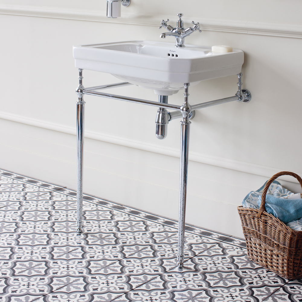 Burlington Victorian Large Basin and Chrome Wash Stand - Various Tap Hole Options Profile Large Image