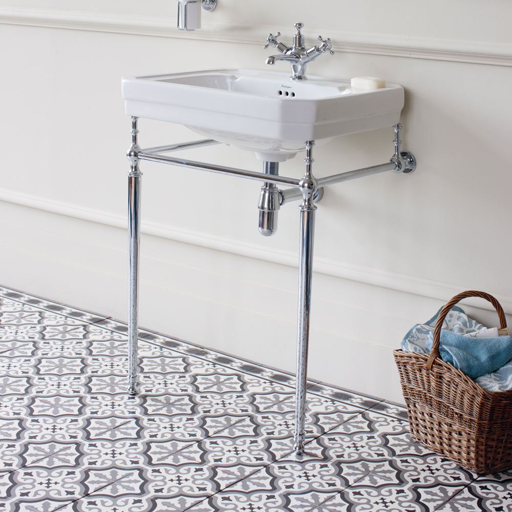 Burlington Victorian Medium Basin and Chrome Wash Stand - Various Tap Hole Options Profile Large Image