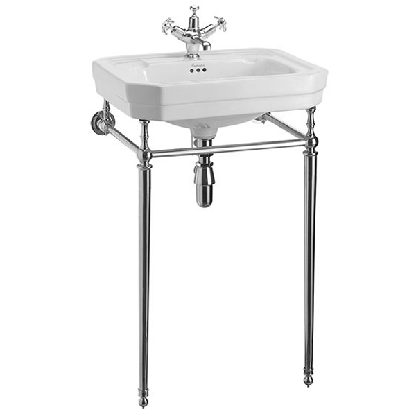 Burlington Victorian Medium Basin and Chrome Wash Stand - Various Tap Hole Options Large Image