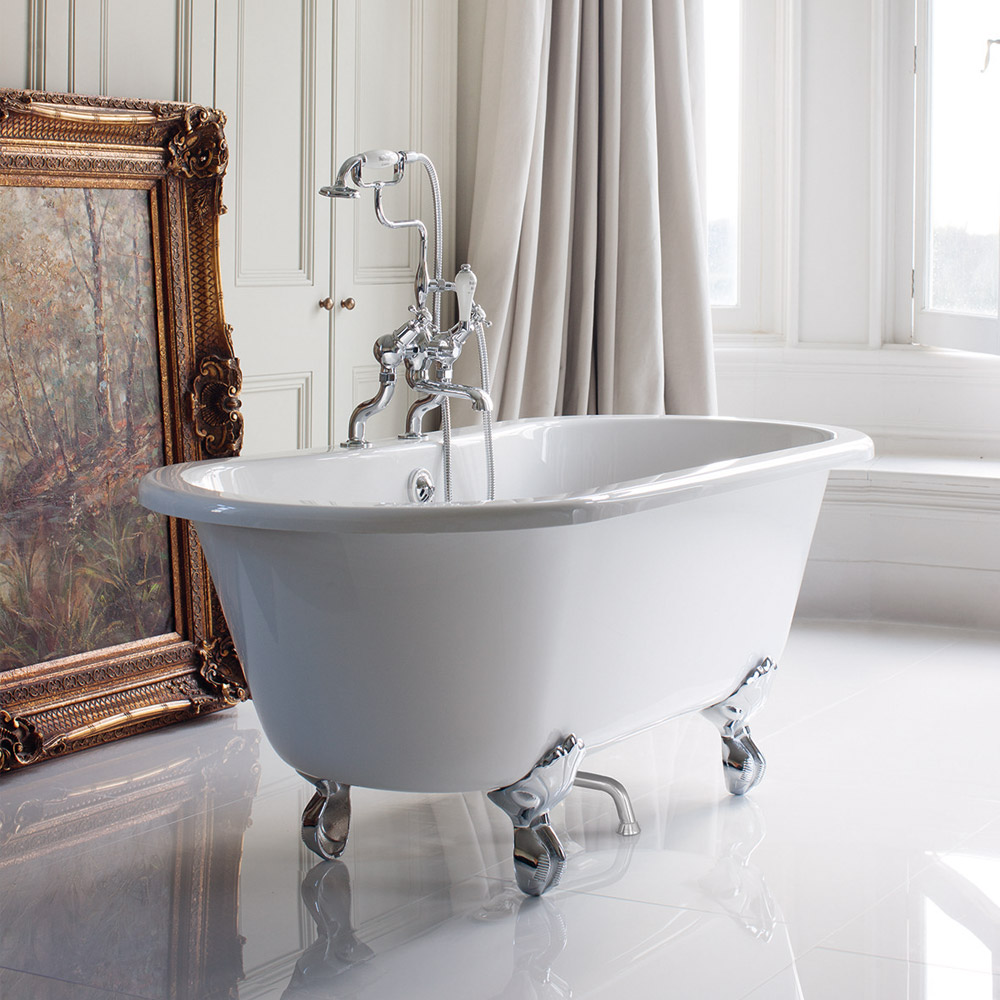Burlington Windsor Double Ended 1500mm Freestanding Bath with Legs profile large image view 1