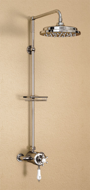 "Burlington Wye Claremont Exposed Valve w Rigid Riser, Straight Arm, 9"" Shower Rose & Soap Basket Large Image"