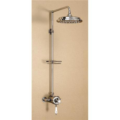 "Burlington Wye Claremont Exposed Valve w Rigid Riser, Straight Arm, 9"" Shower Rose & Soap Basket"