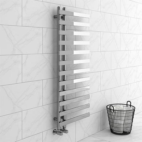Arezzo Chrome 1200 x 500mm 12 Bars Designer Heated Towel Rail