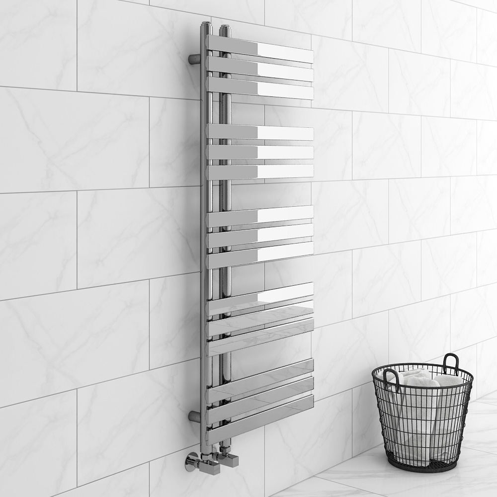 Arezzo Chrome 1200 x 500mm 15 bars Designer Heated Towel Rail