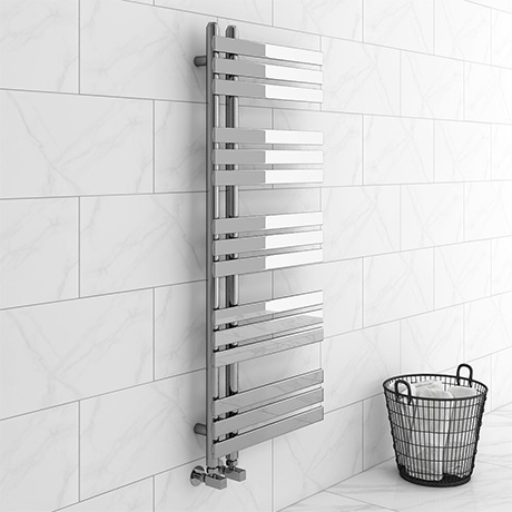 Arezzo Chrome 1200 x 500mm 15 bars Designer Heated Towel Rail