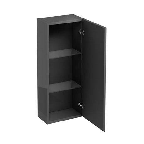 Britton Bathrooms - W300 x H750 Single Mirrored Door Wall Cabinet - Anthracite Grey