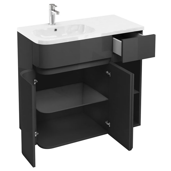 Aqua Cabinets - W900 x D450 Arc Cabinet Unit with Quattrocast Basin - Anthracite Grey Profile Large Image