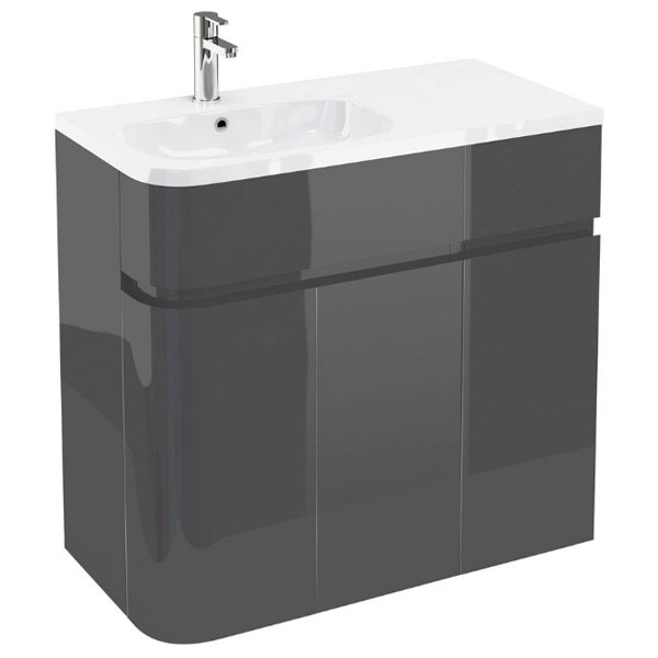Aqua Cabinets - W900 x D450 Arc Cabinet Unit with Quattrocast Basin - Anthracite Grey Large Image