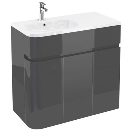 Aqua Cabinets - W900 x D450 Arc Cabinet Unit with Quattrocast Basin - Anthracite Grey