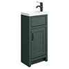 Chatsworth Traditional Green Small Vanity - 400mm Wide with Matt Black Handle profile small image view 1