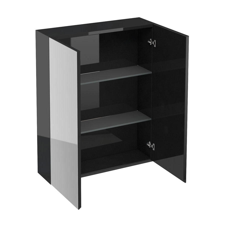 Britton Bathrooms - W600 x H750 Double Mirrored Door Wall Cabinet - Black Large Image