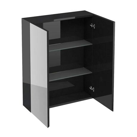 Britton Bathrooms - W600 x H750 Double Mirrored Door Wall Cabinet - Black