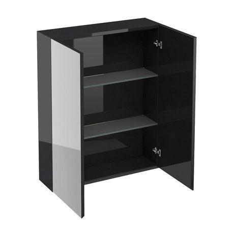 Britton Bathrooms - W600 x H750 Double Mirrored Door Wall Cabinet - Black