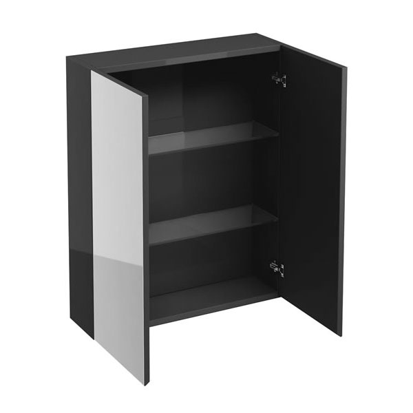 Britton Bathrooms - W600 x H750 Double Mirrored Door Wall Cabinet - Anthracite Grey profile large image view 1