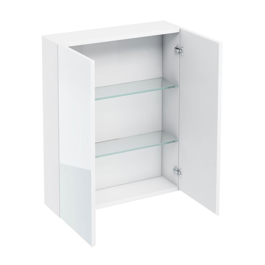 Britton Bathrooms - W600 x H750 Double Mirrored Door Wall Cabinet - White Large Image