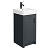 Chatsworth Traditional Graphite Vanity - 425mm Wide with Matt Black Handle profile small image view 1