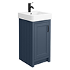 Chatsworth Traditional Blue Vanity - 425mm Wide with Matt Black Handle profile small image view 1