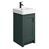 Chatsworth Traditional Green Vanity - 425mm Wide with Matt Black Handle profile small image view 1