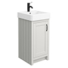 Chatsworth Traditional Grey Vanity - 425mm Wide with Matt Black Handle profile small image view 1