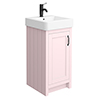 Chatsworth Traditional Pink Vanity - 425mm Wide with Matt Black Handle profile small image view 1