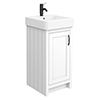 Chatsworth Traditional White Vanity - 425mm Wide with Matt Black Handle profile small image view 1