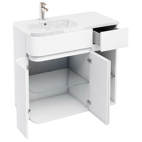 Aqua Cabinets - W900 x D450 Arc Cabinet Unit with Quattrocast Basin - White profile large image view 2