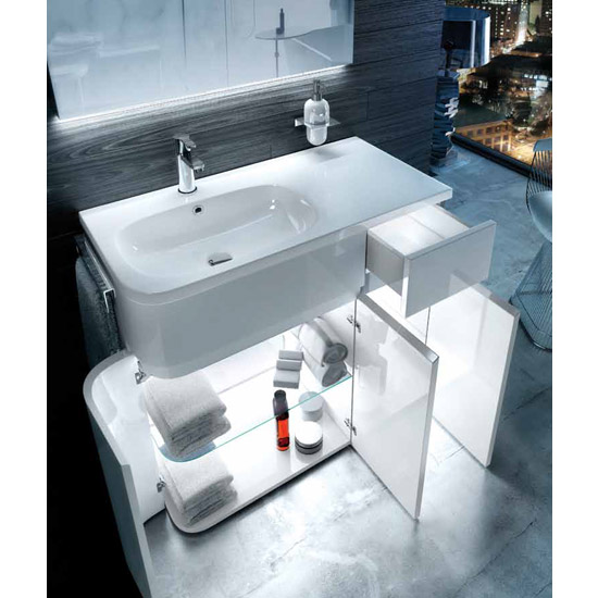 Aqua Cabinets - W900 x D450 Arc Cabinet Unit with Quattrocast Basin - White profile large image view 4